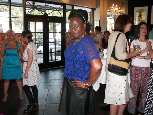 Enjoying Happy Hour at The Bird and The Bear. Lace top and faux leather skirt both from Express.